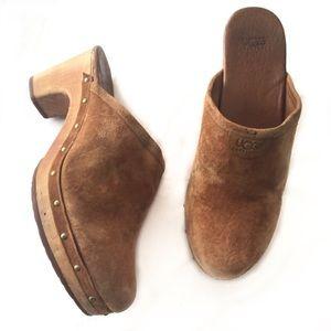 UGG brown heeled slip on clogs